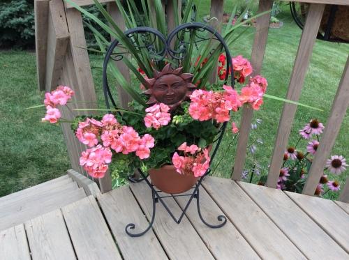 Decorative Stand with Pink Geranium
